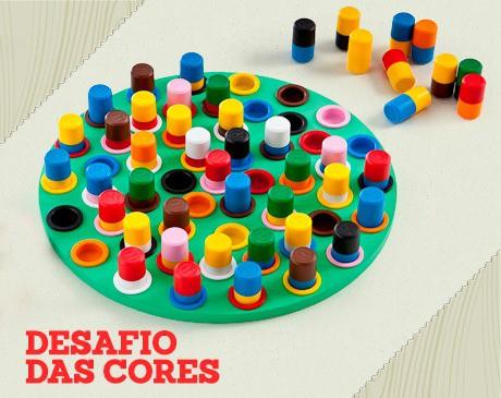 Brinquedo de Madeira Jogo Desafio das Cores Novo