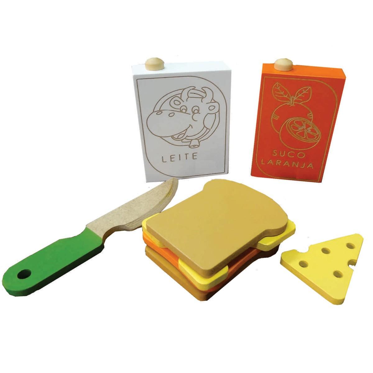 Brinquedo de Madeira Kit Lanche