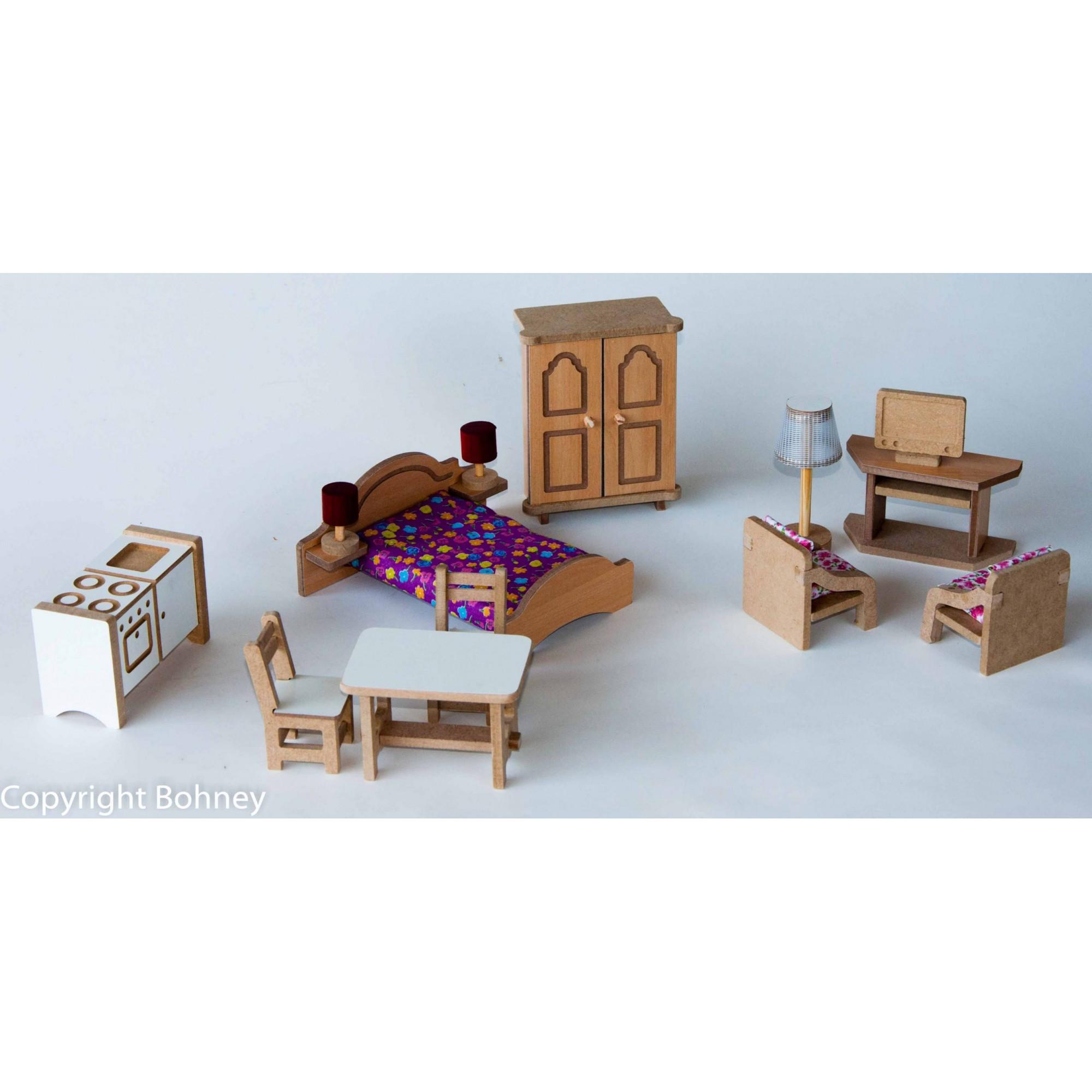 Brinquedo de Madeira Kit Mini Móveis para Casinha de Boneca Simples