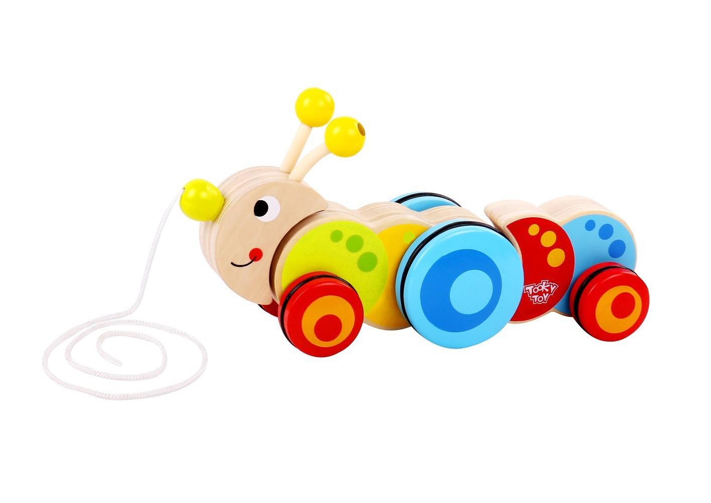 Brinquedo de Madeira Lagarta de Puxar