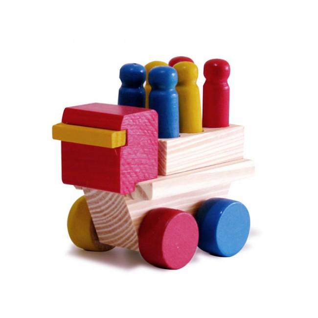 Brinquedo de Madeira Mini Caminhão com Pinos.