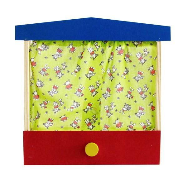 Brinquedo de Madeira Mini Teatro de Dedoche em Madeira com Gaveta