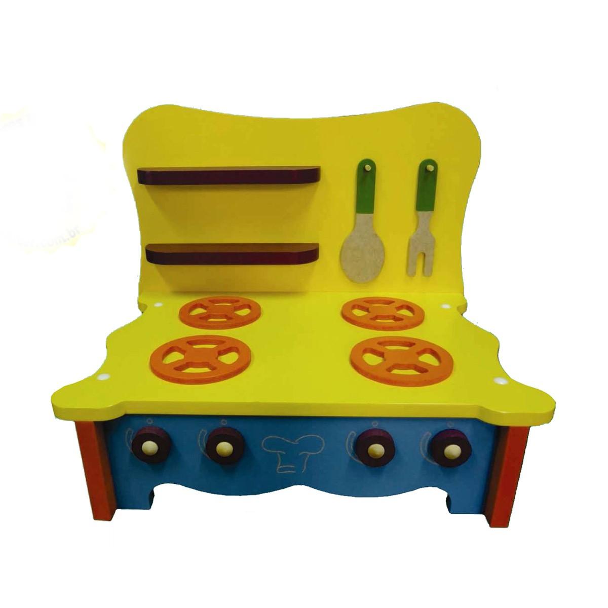 Brinquedo de Madeira para Casinha de Boneca Fogão de Mesa