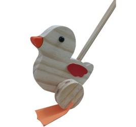 Brinquedo de Madeira para empurrar Pato Peteleco Cru com barulho