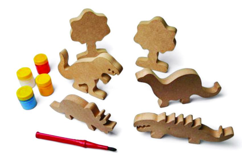 Brinquedo de Madeira para Pintar e Brincar Família Dinossauros