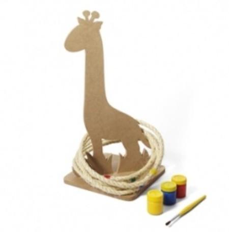 Brinquedo de Madeira para Pintar e Brincar Jogo de Argola Mira Girafa