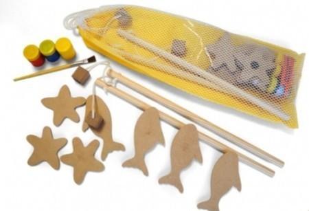 Brinquedo de Madeira Pescaria Para Pintar Pinte e Brinque