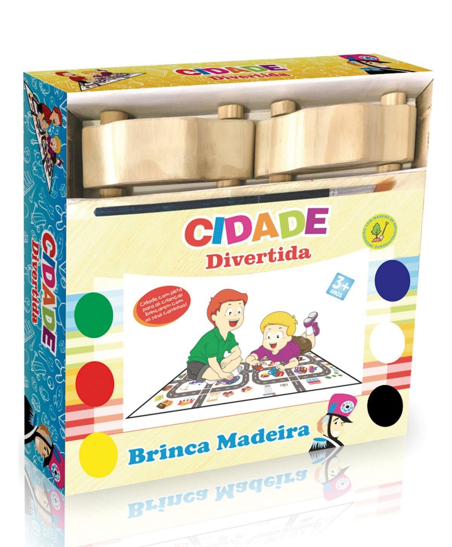 Pinta e Brinca Cidade Divertida Brinquedo educativo de madeira, Carrinhos Tapete e Cenário