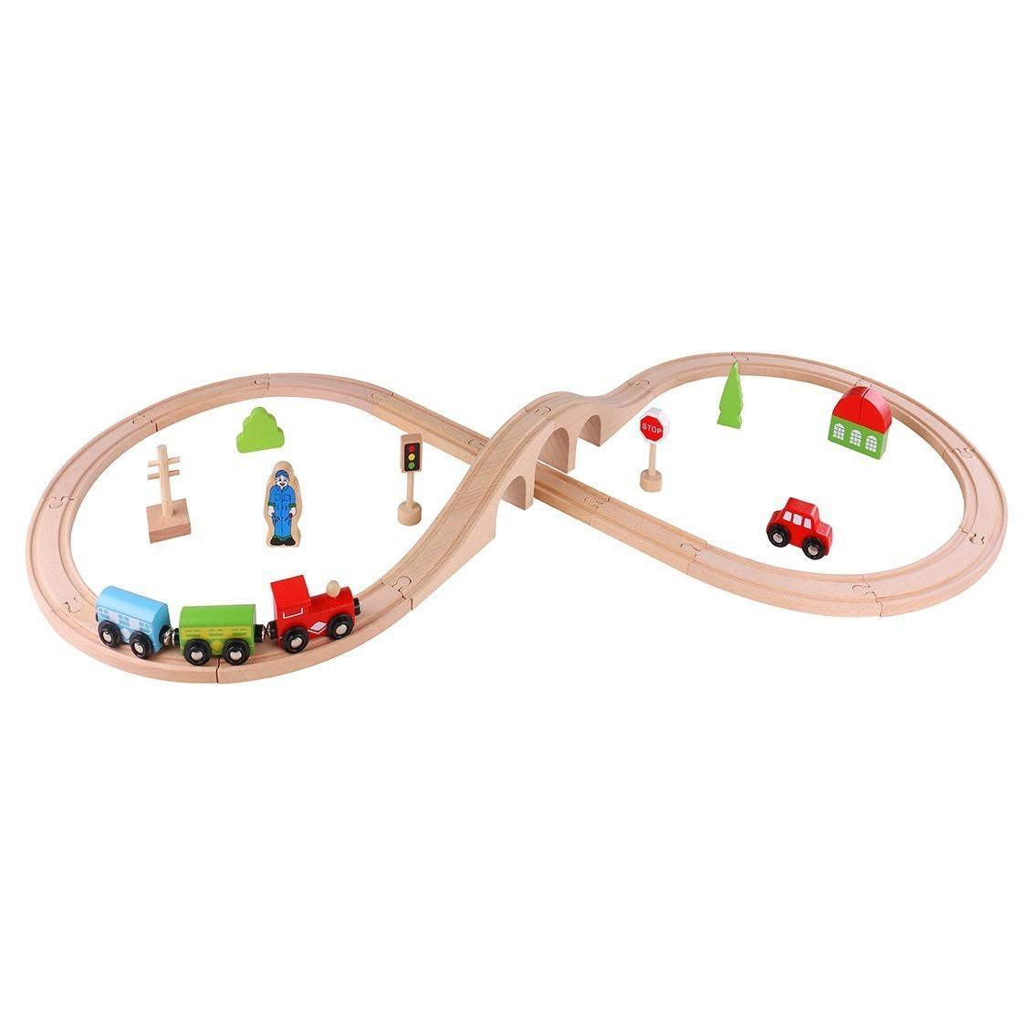 Brinquedo de Madeira Pista Trem 30 Peças
