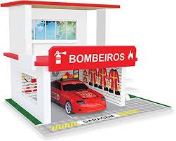 Brinquedo de Madeira Posto de Bombeiros Resgate