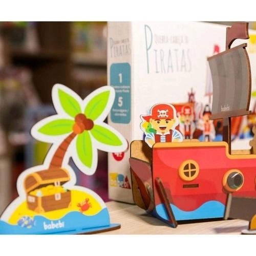 Brinquedo de Madeira Quebra Cabeça 3D Piratas