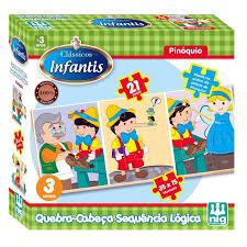 Brinquedo de Madeira Quebra Cabeça Sequencia Lógica Pinóquio 21pçs