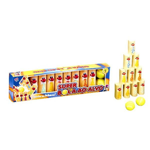 Brinquedo de Madeira Super Bola ao Alvo Cara de Pau