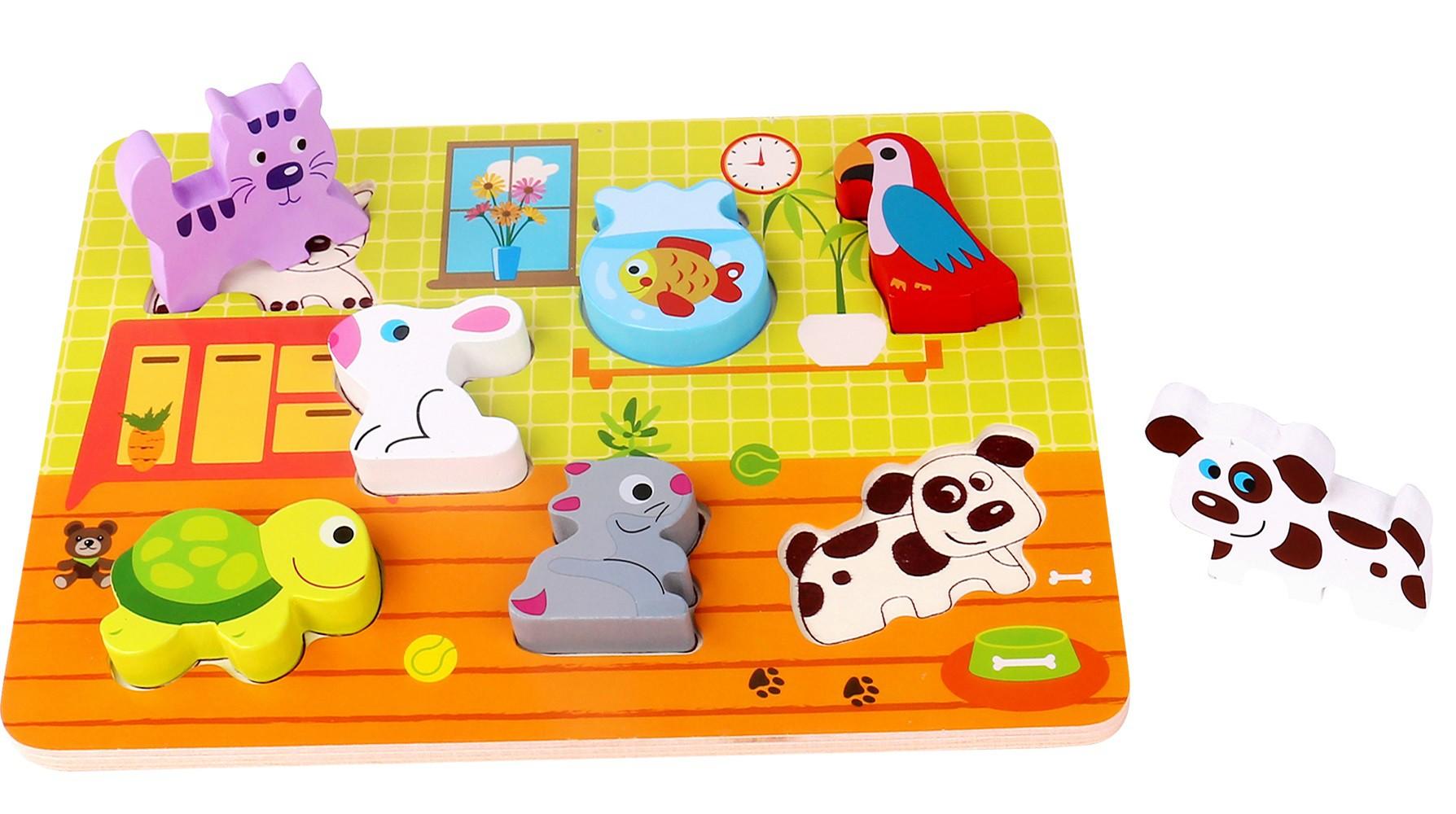 Brinquedo de Madeira Tabuleiro de Encaixe Animais