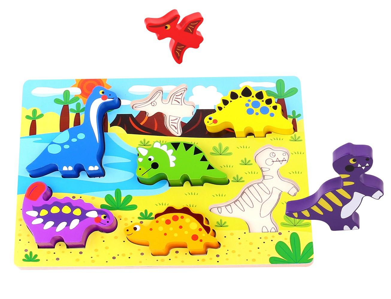 Brinquedo de Madeira Tabuleiro de Encaixe Dinossauro