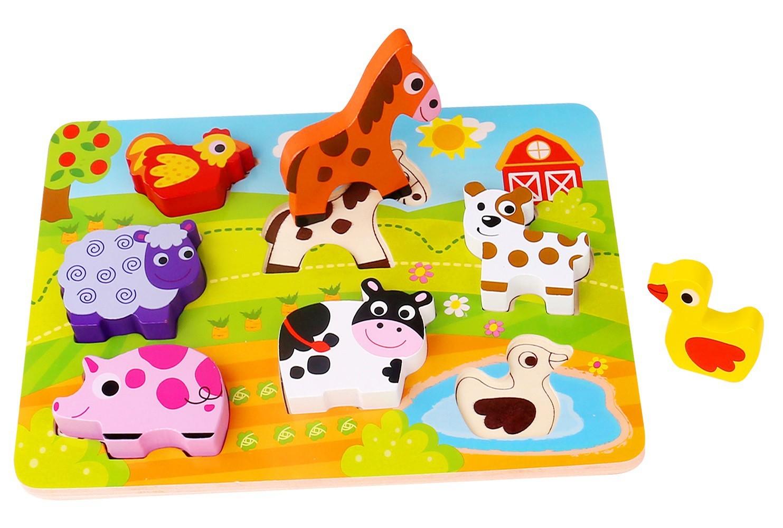 Brinquedo de Madeira Tabuleiro de Encaixe Fazenda