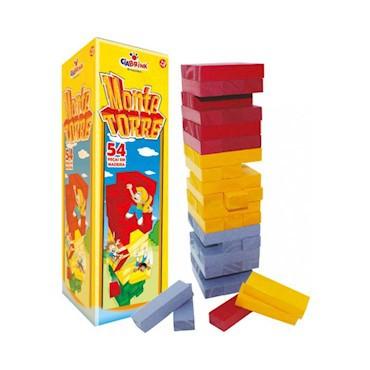 Brinquedo de Madeira Torre Equilibrio Monte Torre  com 54 peças