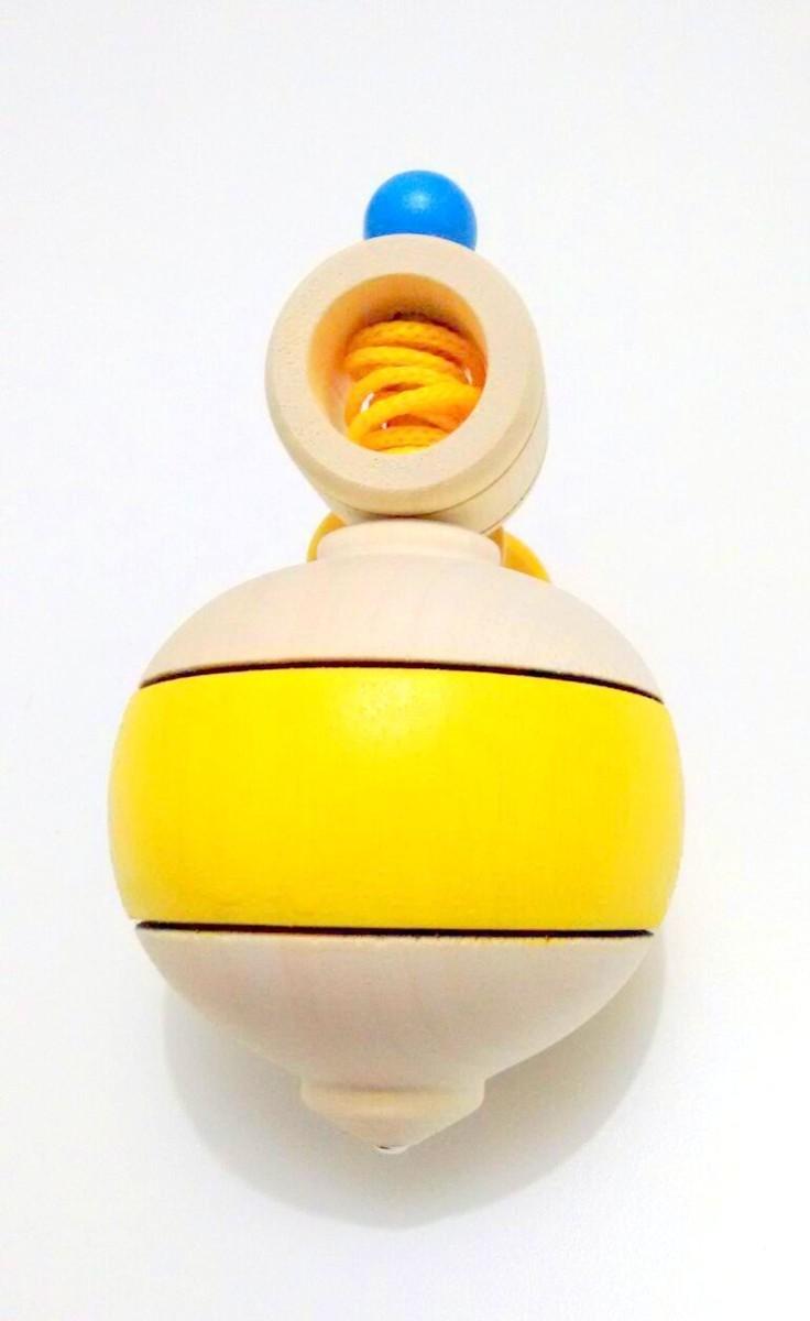 Brinquedo de Madeira Tradicional Pião Bola Cores Sortidas