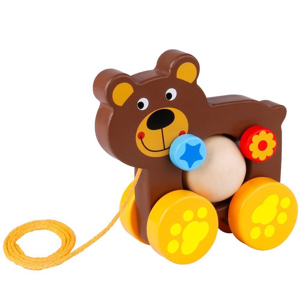 Brinquedo de Madeira Urso de Puxar