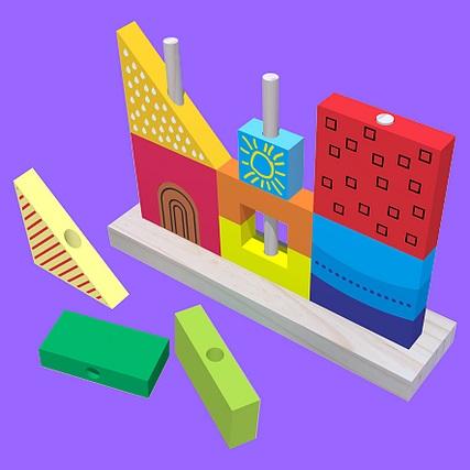 Brinquedo de Montar Blocos de Madeira Encaixe Vertical