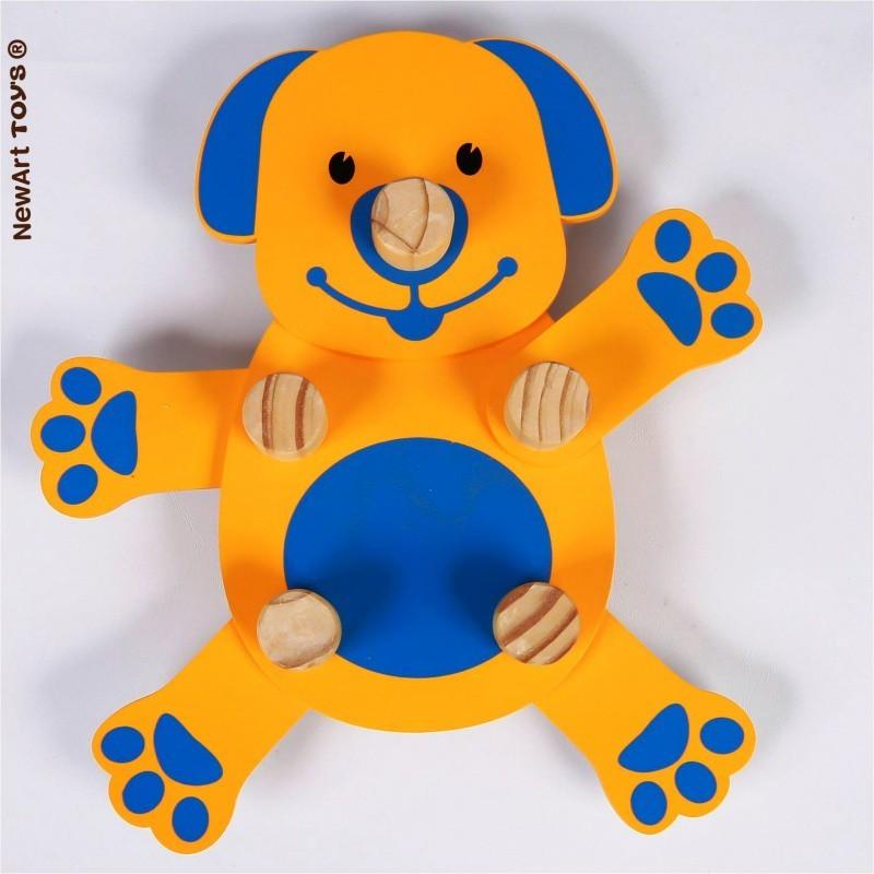 Brinquedo de Montar de Madeira Gire e Crie Cachorrinho
