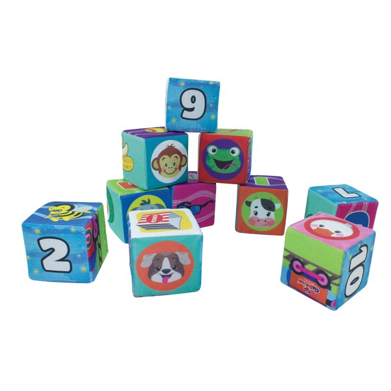 Brinquedo de Montar em Tecido Conjunto com 10 Cubos Educativos de Espuma