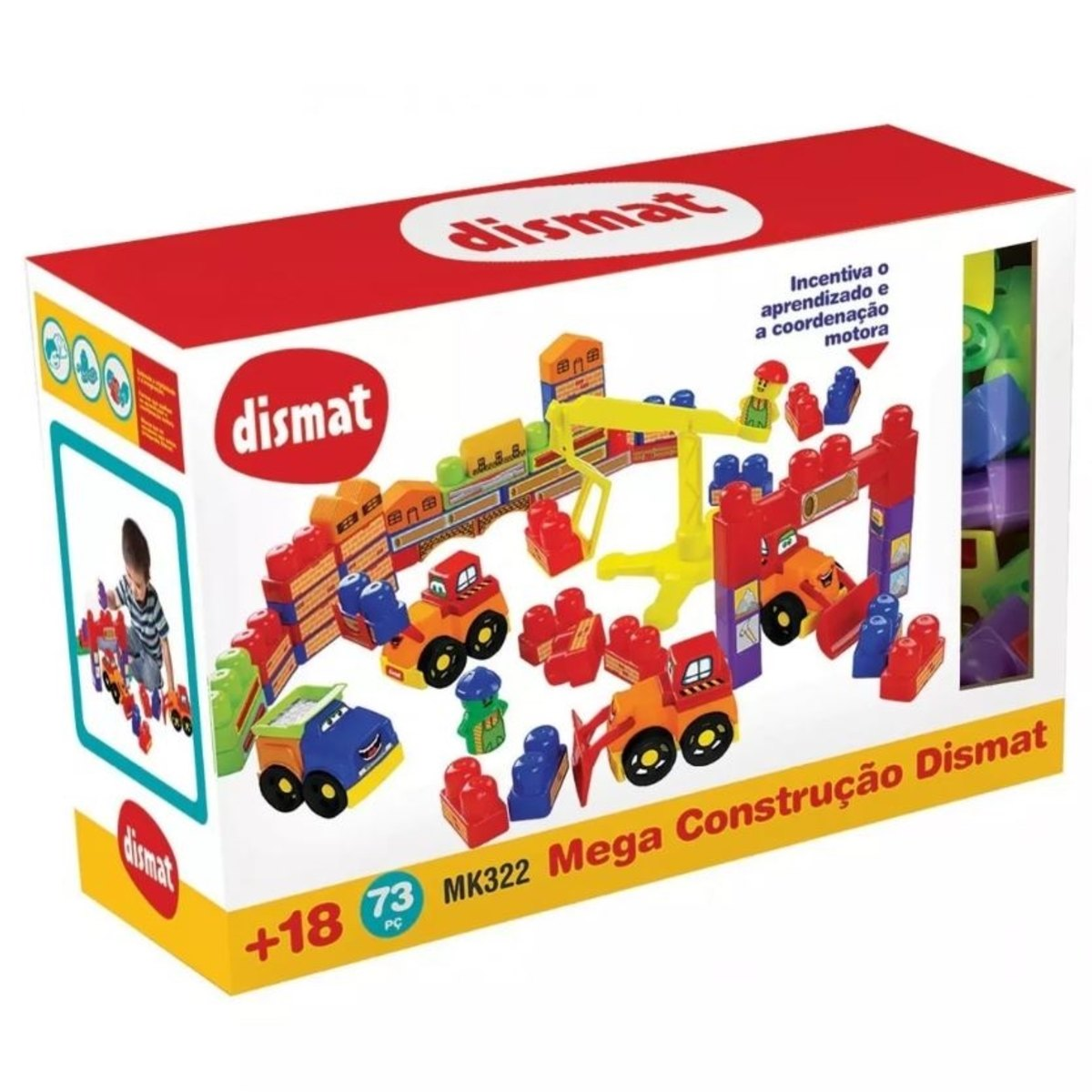 Brinquedo de Montar Mega Construção 73 Peças Blocos de Montar Dismat