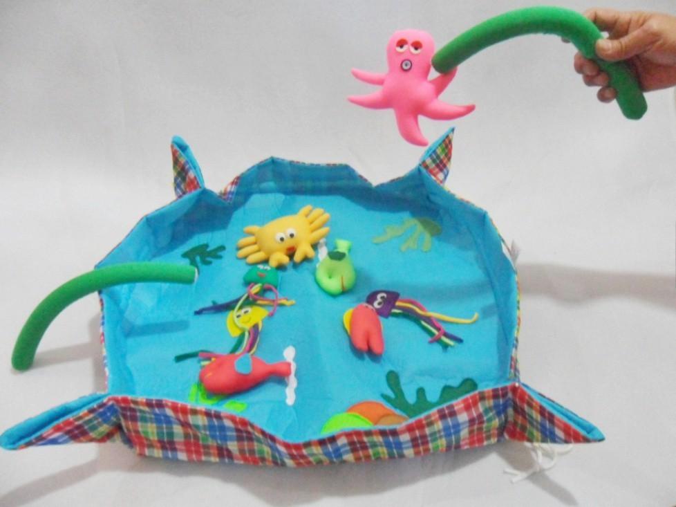 Brinquedo de Pano Bolsa Pesca em Tecido com Velcro