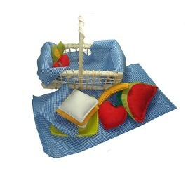 Brinquedo de Tecido Cestinha de Frutas, Legumes e Sanduíche em Feltro