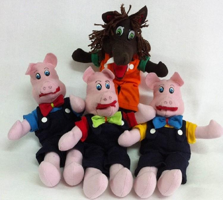 Brinquedo Educativo Conjunto de Bonecos Os Três Porquinhos