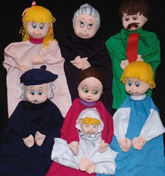 Brinquedo Educativo Conjunto de Fantoches Família Completa Branca