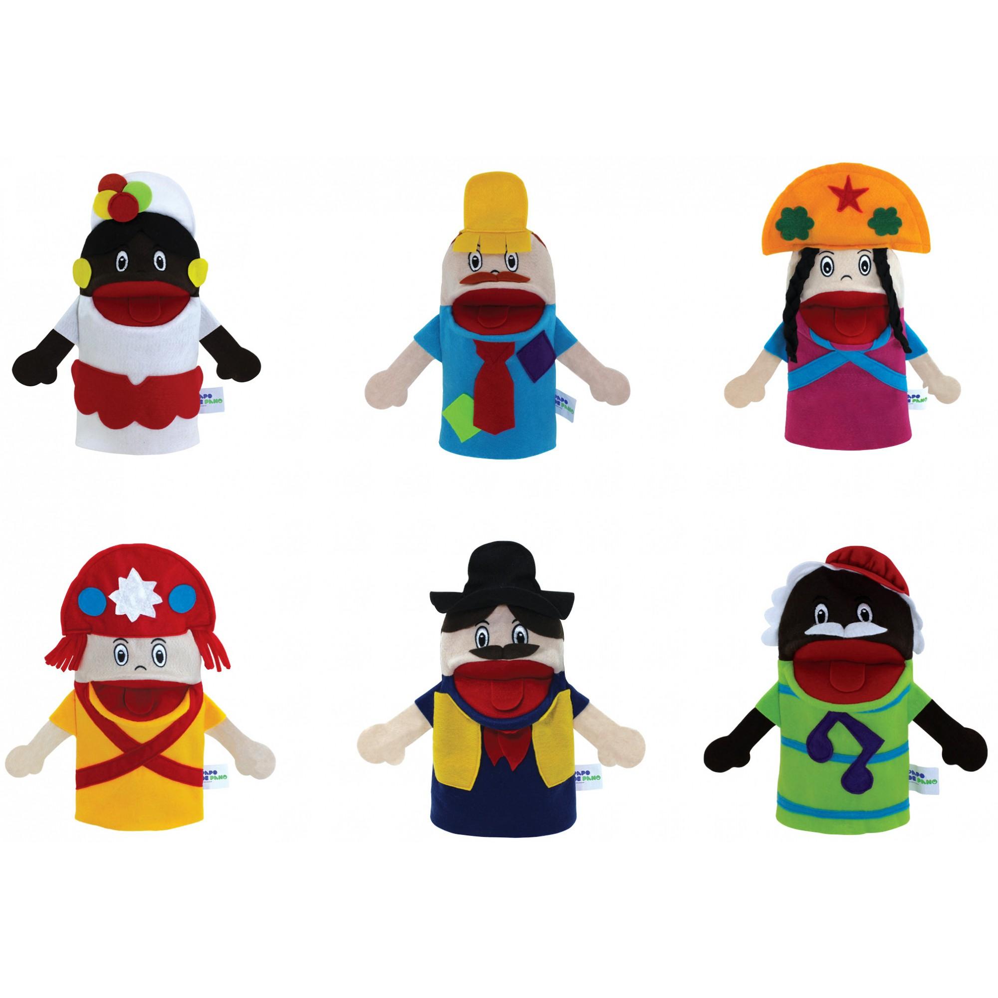 Brinquedo Educativo Conjunto de Fantoches Regionais