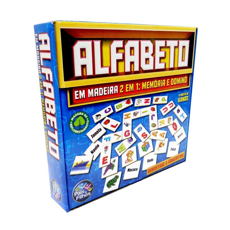 Brinquedo Educativo de Madeira 2 em 1 Alfabeto Dominó e Memória