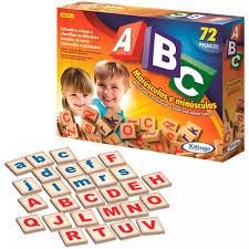 ABC com 72 peças Maiúsculas e Minúsculas Brinquedo Educativo de Madeira