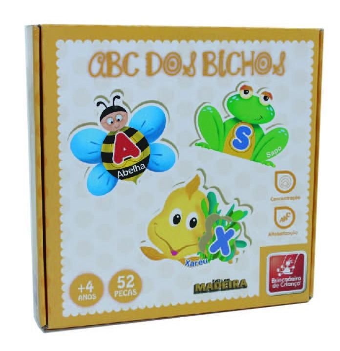 ABC dos Bichos Alfabeto Ilustrado Brinquedo Pedagógico e Educativo de Madeira