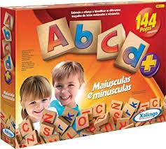 Brinquedo Educativo de Madeira ABCD com 144 peças Xalingo