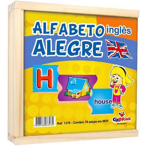 Brinquedo Educativo de Madeira Alfabeto Alegre Inglês