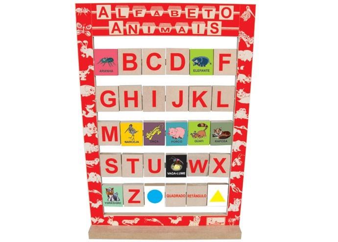Brinquedo Educativo de Madeira Alfabeto dos Animais
