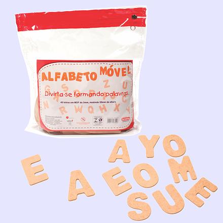 Brinquedo Educativo de Madeira Alfabeto Móvel 40 Letras