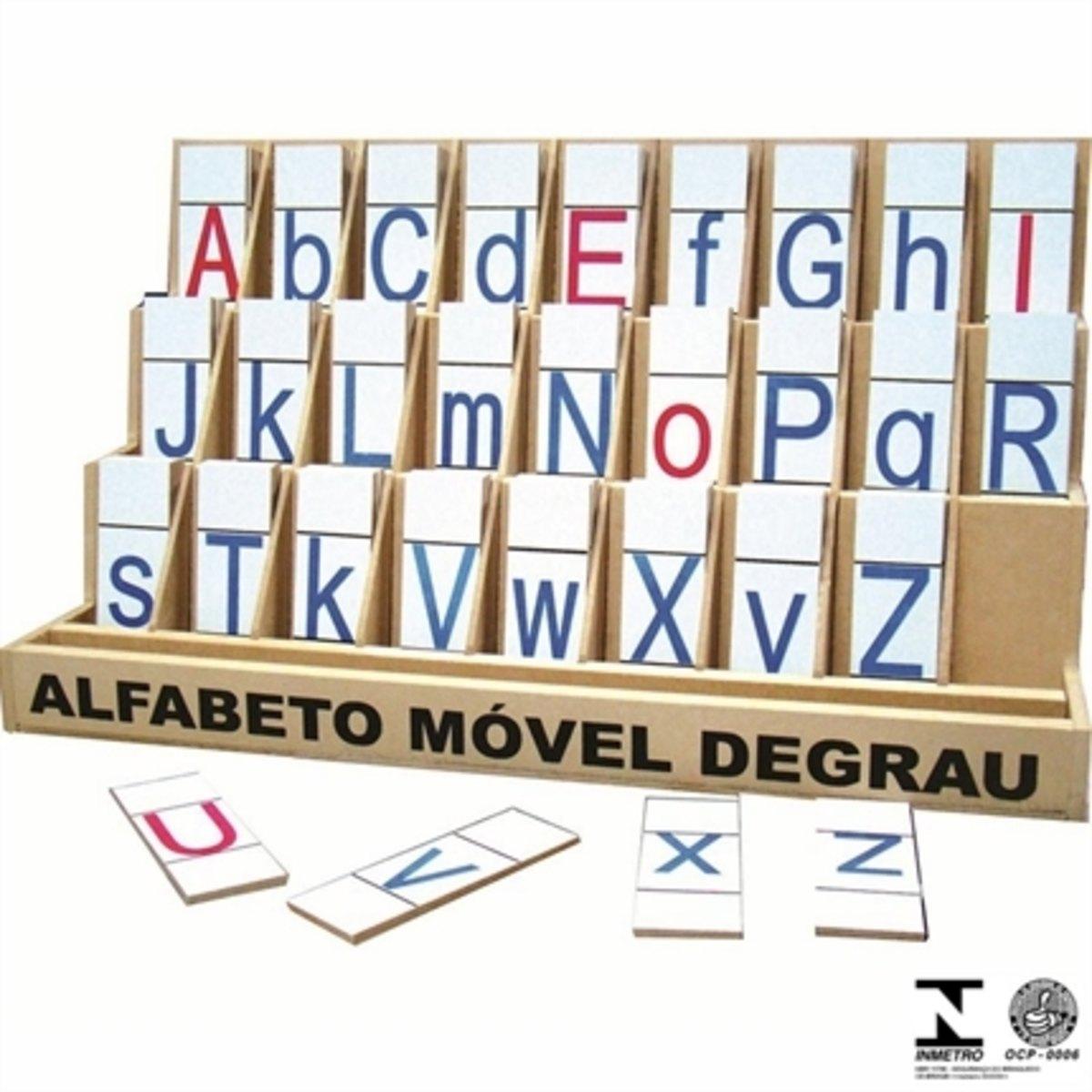 Brinquedo Educativo de Madeira  Alfabeto Móvel Degrau MDF