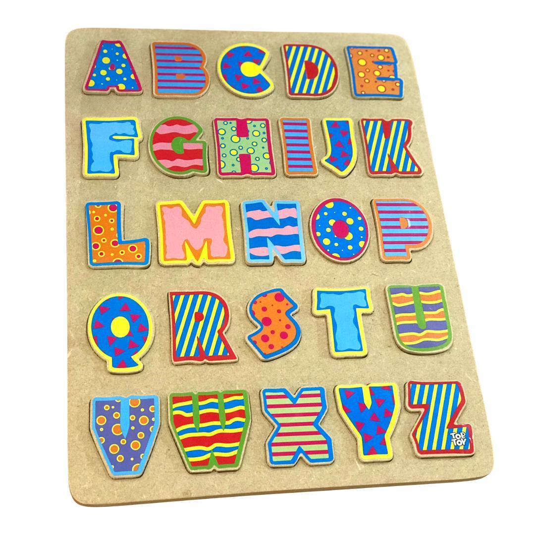 Brinquedo Educativo de Madeira Alfabeto Tabuleiro