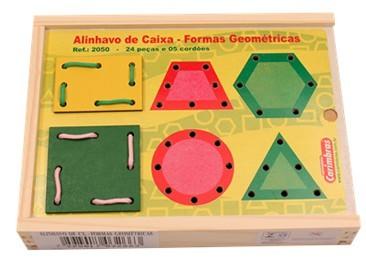 Alinhavo de Caixa Formas Geométricas Brinquedo Educativo de Madeira