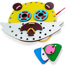 Brinquedo Educativo de Madeira Alinhavo Faça o Bicho
