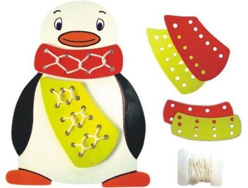 Brinquedo Educativo de Madeira Alinhavo Pinguim