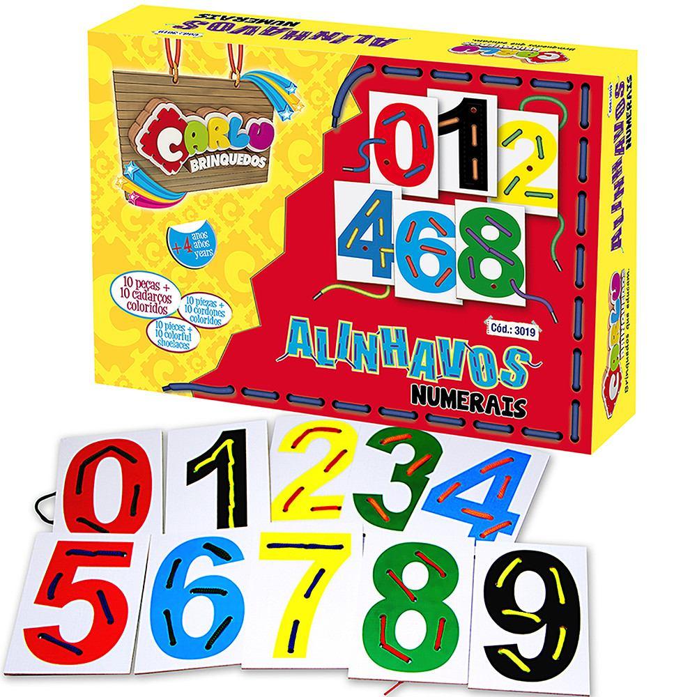Brinquedo Educativo de Madeira Alinhavos Numerais