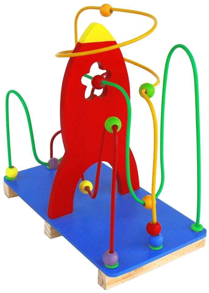 Brinquedo Educativo de Madeira Aramado Montanha Russa Foguete