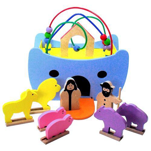Arca de Noé Pequena Brinquedo Educativo de Madeira