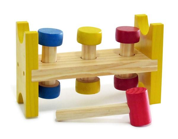Brinquedo Educativo de Madeira Bate Pinos Baby
