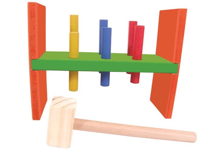 Brinquedo Educativo de Madeira Bate Pinos Colorido