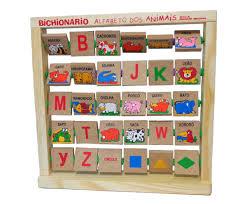 Brinquedo Educativo de Madeira Bichionário Alfabeto dos Bichos